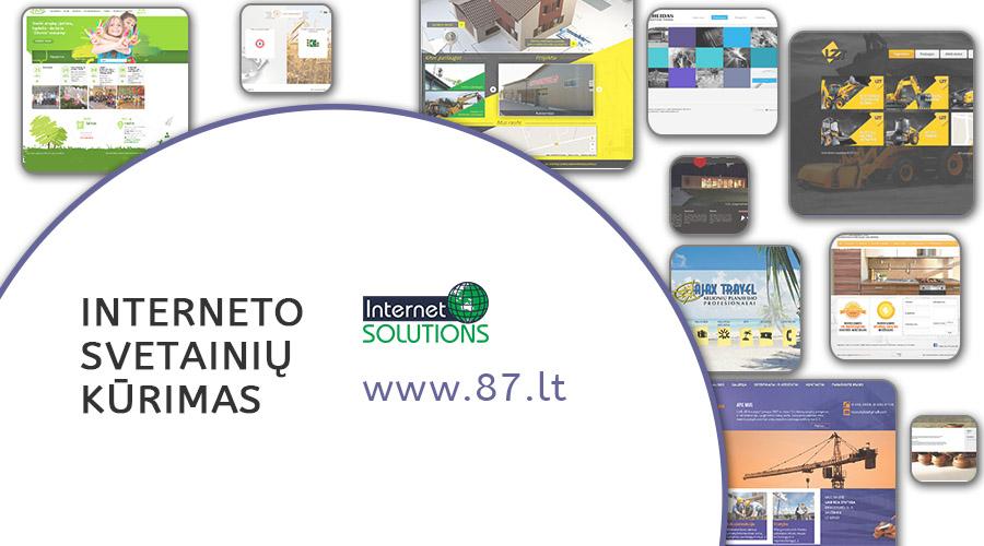 Profesionalus internetinių svetainių kūrimas. Nemokama konsultacija, garantija darbui. Unikalus dizainas, prisitaikantis dizainas, SEO optimizacija www.87.lt