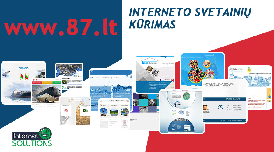 Kuriame įvairaus sudėtingumo ir paskirties informacines, reprezentacines svetaines, informacinius portalus, skelbimų lentas – www.87.lt